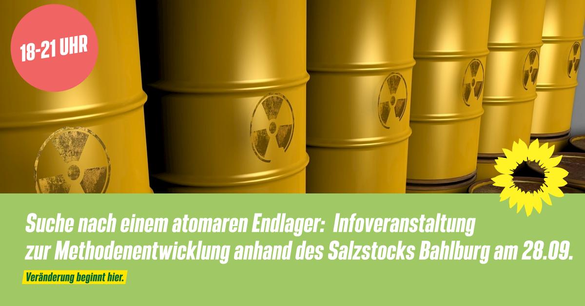 Suche nach einem atomaren Endlager: Infoveranstaltung zur Methodenentwicklung anhand des Salzstocks Bahlburg am 28.09.